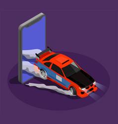 Car tuning isometric design concept vector