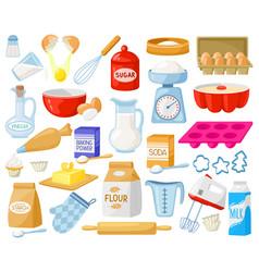 cartoon baking ingredients bakery ingredients vector image
