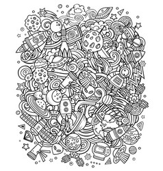 cartoon doodles space sketchy fun vector image