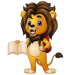 Cartoon lion holding a book with backpack vector