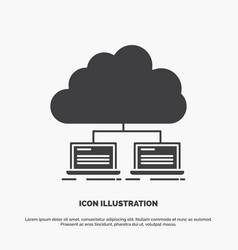Cloud network server internet data icon glyph vector