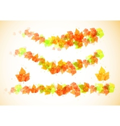 Collection beautiful colorful autumn leaves vector