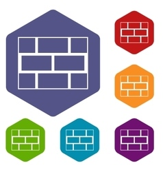 Concrete block wall icons set vector