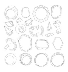 crystal frames abstract geometric shape borders vector image