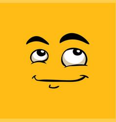 Cute avatar dreamy emoji flat vector