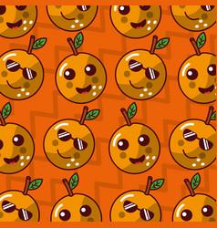 Cute fruit kawaii face funny seamles pattern vector