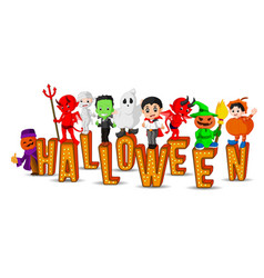 cute kids wearing halloween costumes vector image