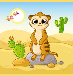 cute meerkat stands on a stone in desert among vector image