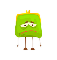 Cute sad purse character funny green humanized vector