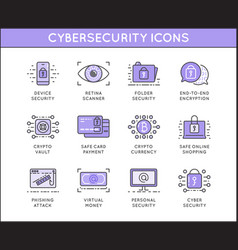 cyber security and crime outline icon set vector image