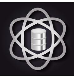 Data center and atom icon Technology design vector