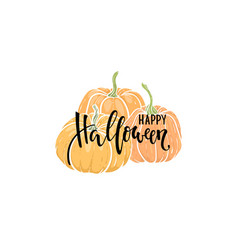 decorative orange pumpkins with happy halloween vector image