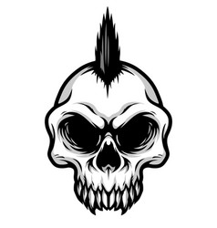 Detailed classic punk hair skull head vector