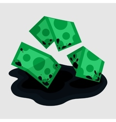 Dirty rumpled money in puddle vector image vector image