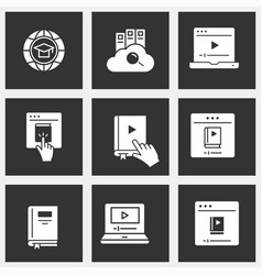 Distance education icon set on black background vector