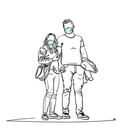 Drawing young couple wearing medical face mask vector