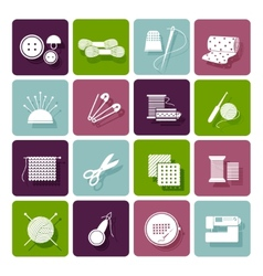 Dressmaking knitting and embroidery icons vector