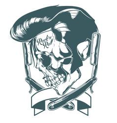 Elvis presley skull barber vector