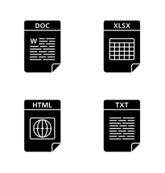 Files format glyph icons set vector