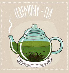 Glass teapot with green tea vector