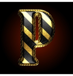 Golden and black letter p vector