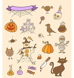 Halloween doodle elements vector image