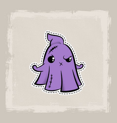halloween stitch ghost phantom zombie voodoo doll vector image