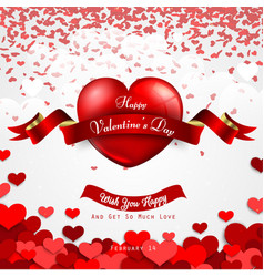 happy valentines day background with cut paper hea vector image