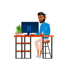 Hispanic man freelancer work on computer in room vector