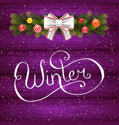 Holiday gift card with hand lettering winter and vector