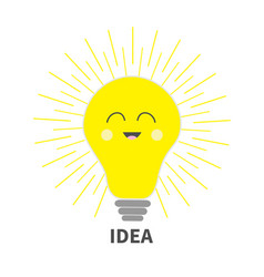 Idea light bulb icon with smiling happy face vector