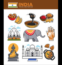 India tourism travel famous landmark symbols and vector
