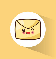 kawaii message email cartoon vector image