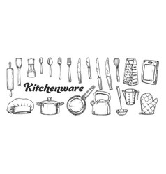 kitchenware utensils collection ink set vector image