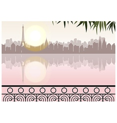 Lakeside cityscape vector