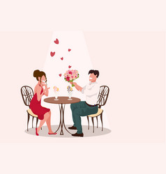 man giving woman flowers bouquet happy valentines vector image