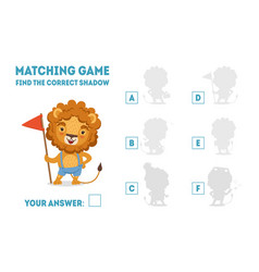 matching game with cute lion with flag find the vector image