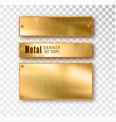 metal gold banners set realistic metal vector image