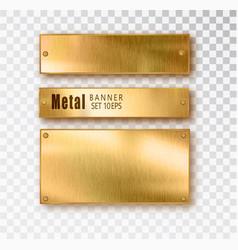 Metal gold banners set realistic metal vector