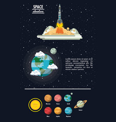 Milky way planets infographic vector