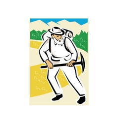 miner with pick ax and backpack mountains retro vector image