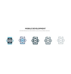 mobile development icon in different style two vector image