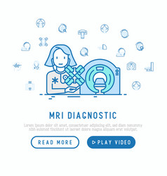 Mri diagnostics concept therapist with mri scan vector