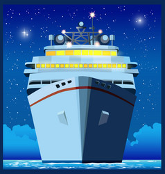 Ocean liner at night vector