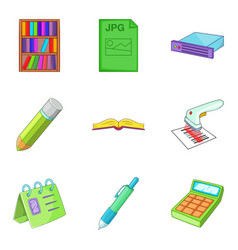 office document icons set cartoon style vector image