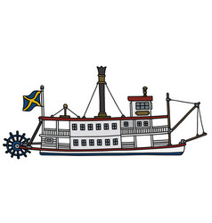 Old paddle steam riverboat vector