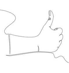 one continuous line hand showing great sign vector image