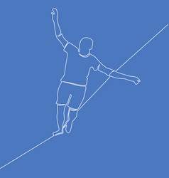 One line man walking tightrope risk concept vector