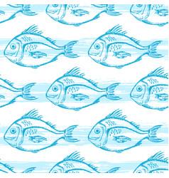 pattern with blue fish vector image