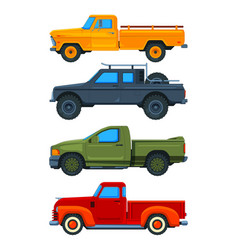 pickup trucks various of vector image